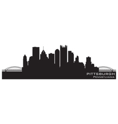 Pittsburgh Pennsylvania skyline Detailed silhouett vector