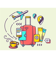 red suitcase and travel accessories vector image