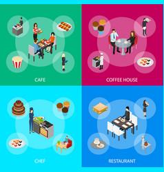 restaurant cafe or bar and people 3d banner set vector image
