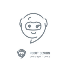 robot logo golden section logotype mobile vector image