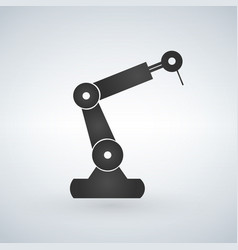 robotic manipulator black silhouette symbol icon vector image