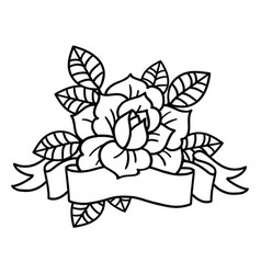 rose tattoo with ribbon art vector image