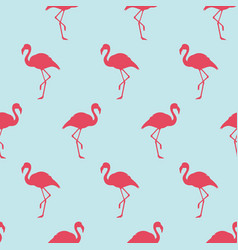 Seamless pattern with pink flamingo exotic bird vector