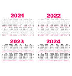 set 2021 2022 2023 2024 calendar simple template vector image