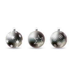 set 3d christmas balls with decorative ornament vector image