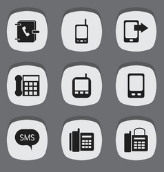 set of 9 editable device icons includes symbols vector image