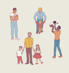 set of fathers with their vector image