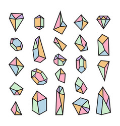 set of geometric crystals trendy design elements vector image