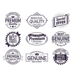 set of isolated retro brand logo product sign vector image