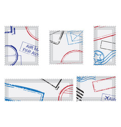 set post stamps postage stamps vector image