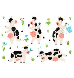 set with funny spotted cows standing sleeping vector image