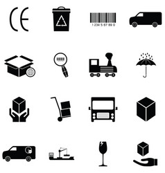 shipping icon set vector image