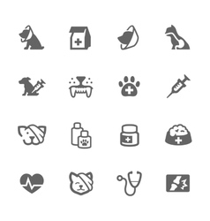 simple pet vet icons vector image