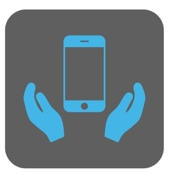 Smartphone care hands rounded square icon vector