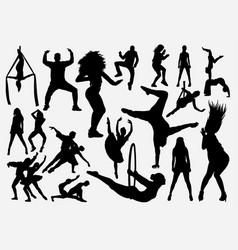 sport dance male and female silhouette vector image