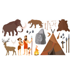 stone age people with vector image