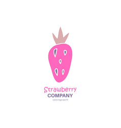 strawberry scandinavian logo vector image