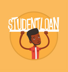 student holding sign of student loan vector image