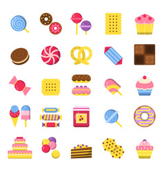 Sweets and pie icons pancakes candies chocolate vector
