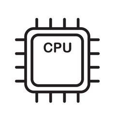 Thin line cpu icon vector