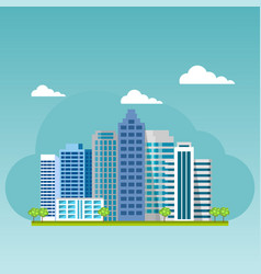 urban landscape city buildings and skyscrapers vector image