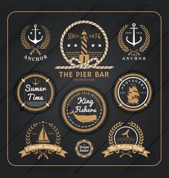 Vintage nautical labels set on dark wood vector image