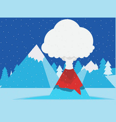 volcano eruption winter mountain landscape with vector image