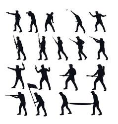 War men silhouettes set vector
