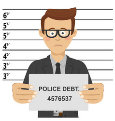 Young businessman posing for mugshot vector