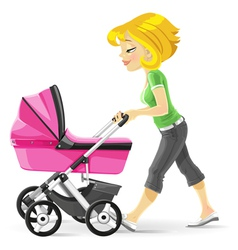 Young mother walking with a pink stroller vector image vector image