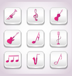 3d colorful music icon set vector image