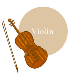 colored violin in hand-drawn style vector image