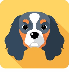 Dog cavalier king charles spaniel icon flat design vector