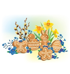 Easter composition of cookies and flowers vector image vector image