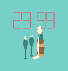 Flat on background of champagne christmas clock vector