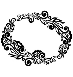 frame Black and white lace flowers and leaves vector image vector image