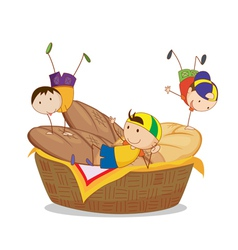 kids and bread vector image vector image