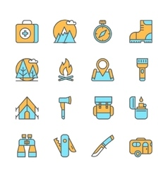 Line flat icons of camping equipment hiking vector image vector image