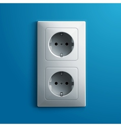 Realistic electric white double socket on blue vector image