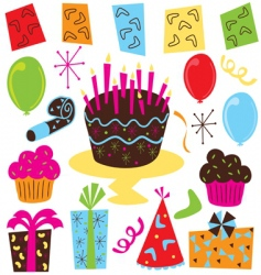 retro birthday party clipart vector image