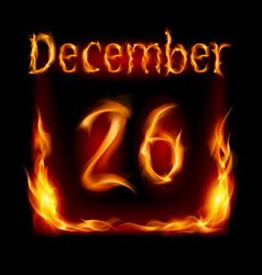 twenty-sixth december in calendar of fire icon on vector image vector image