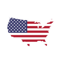 usa flag in a shape of us map silhouette united vector image vector image