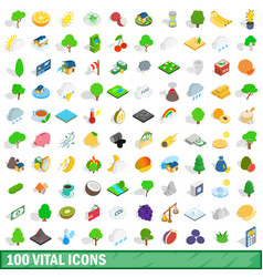 100 vital icons set isometric 3d style vector image vector image