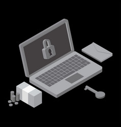 business data has been encrypted isometric vector image