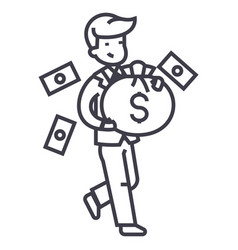 businessman with money bag line icon sign vector image vector image
