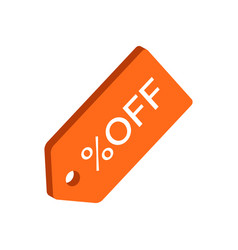 Discount tag symbol flat isometric icon or logo vector