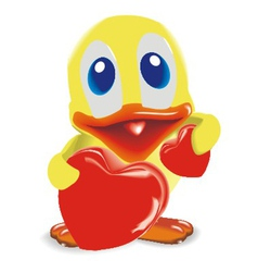 duck with two hearts vector image vector image