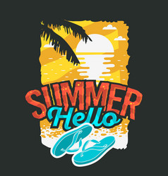 hello summer poster design with sunrise above the vector image vector image