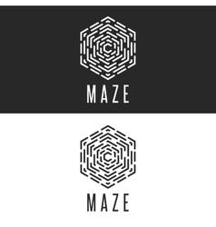 Maze logo cube thin line labyrinth vector image vector image