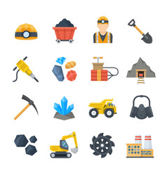mining and quarrying icons in flat style vector image vector image